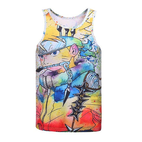 Anime Characters 3D Print Slim Cool Tank Top