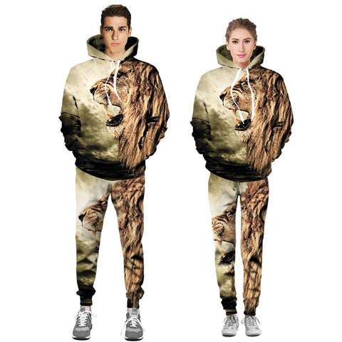 Lion Unisex 3D Hooded Sweatshirts and Long Pant Sets for Men & Women
