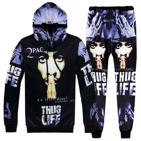 Ripper 2Pac Tupac Unisex 3D Hooded Sweatshirts and Long Pant Sets for Men & Women