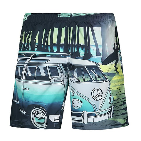 Car Seaside Beach - 3D Digital Print Breathable Elastic Waist Shorts
