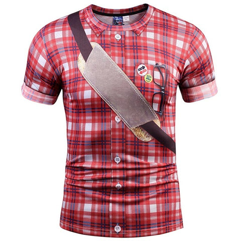 Red Plaid 3D Print T-shirt