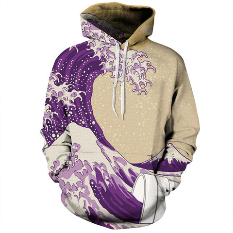 Sea Waves 3D Print Hoodies