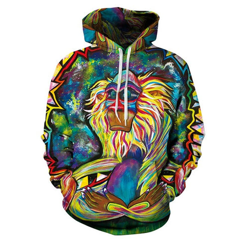 Wizard Clown Monkey 3D Print Hoodies