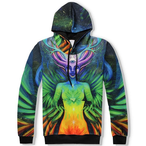 Flowers Deer Person Unisex 3D Hooded Sweatshirts and Long Pant Sets for Men & Women