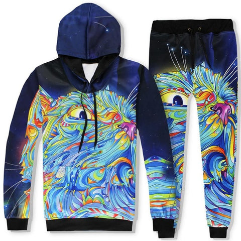 Paint Graffiti Cat Unisex 3D Hooded Sweatshirts and Long Pant Sets for Men & Women