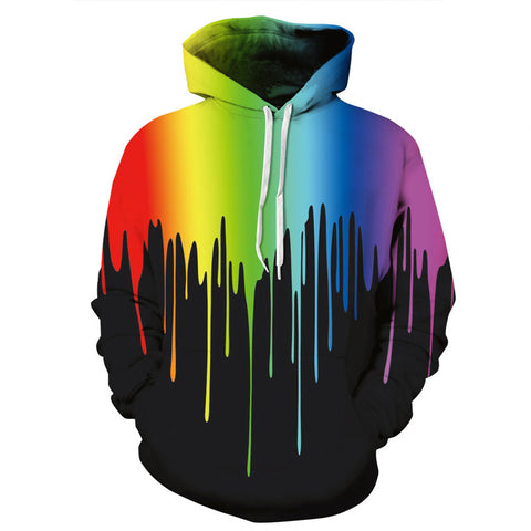 Colorful Splashing Paint 3D Print Hoodies