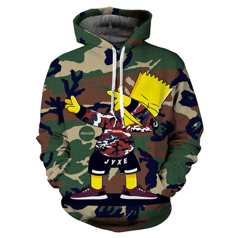 Hiphop Thug Life Bart Camouflage 3D Print Hoodies