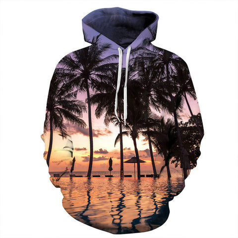 Nightfall Seaside Coconut Trees 3D Print Hoodies