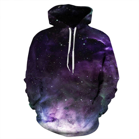 Purple Nebula Clouds 3D Print Hoodies