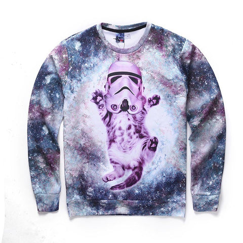 Space Galaxy Funny Cat astronauts autumn winter thin 3d sweatshirts