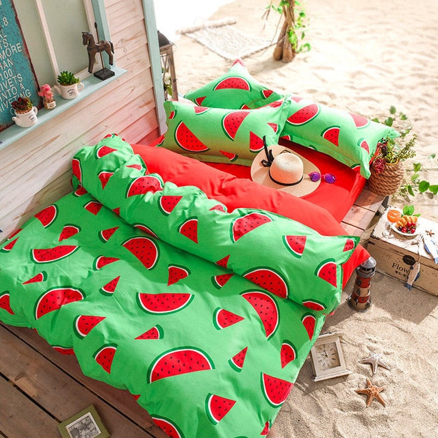 Cute Bedding Set for Children (features fruits/animals/plants)