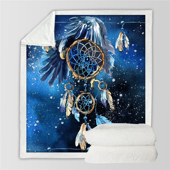 Dreamy Blue Galaxy Sherpa Fleece Blanket