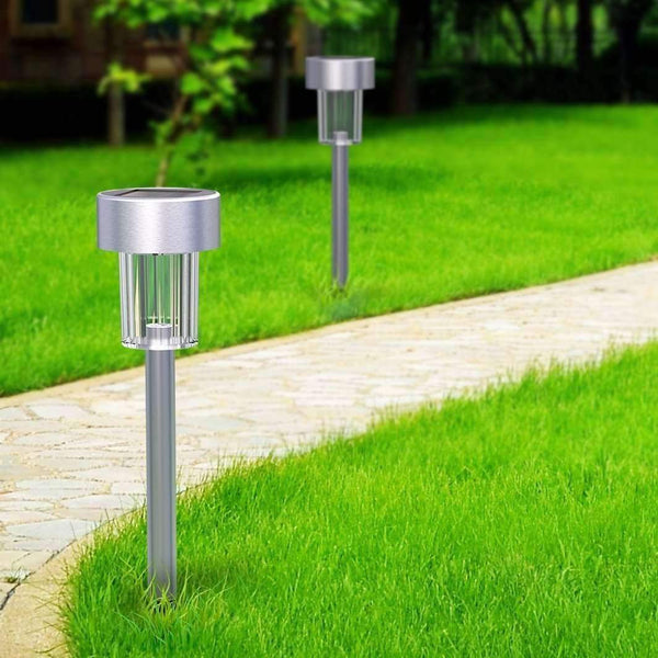 stylishlytechie:12 PCS Garden Outdoor Stainless Steel LED Solar Path Lights