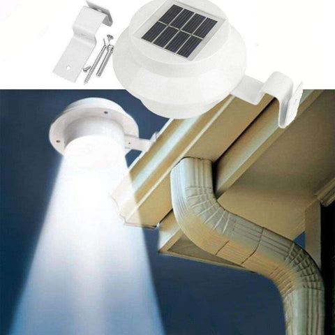 stylishlytechie:4 LED Solar Powered Gutter Light Outdoor/Garden/Yard/Wall/Fence/Pathway Lamp