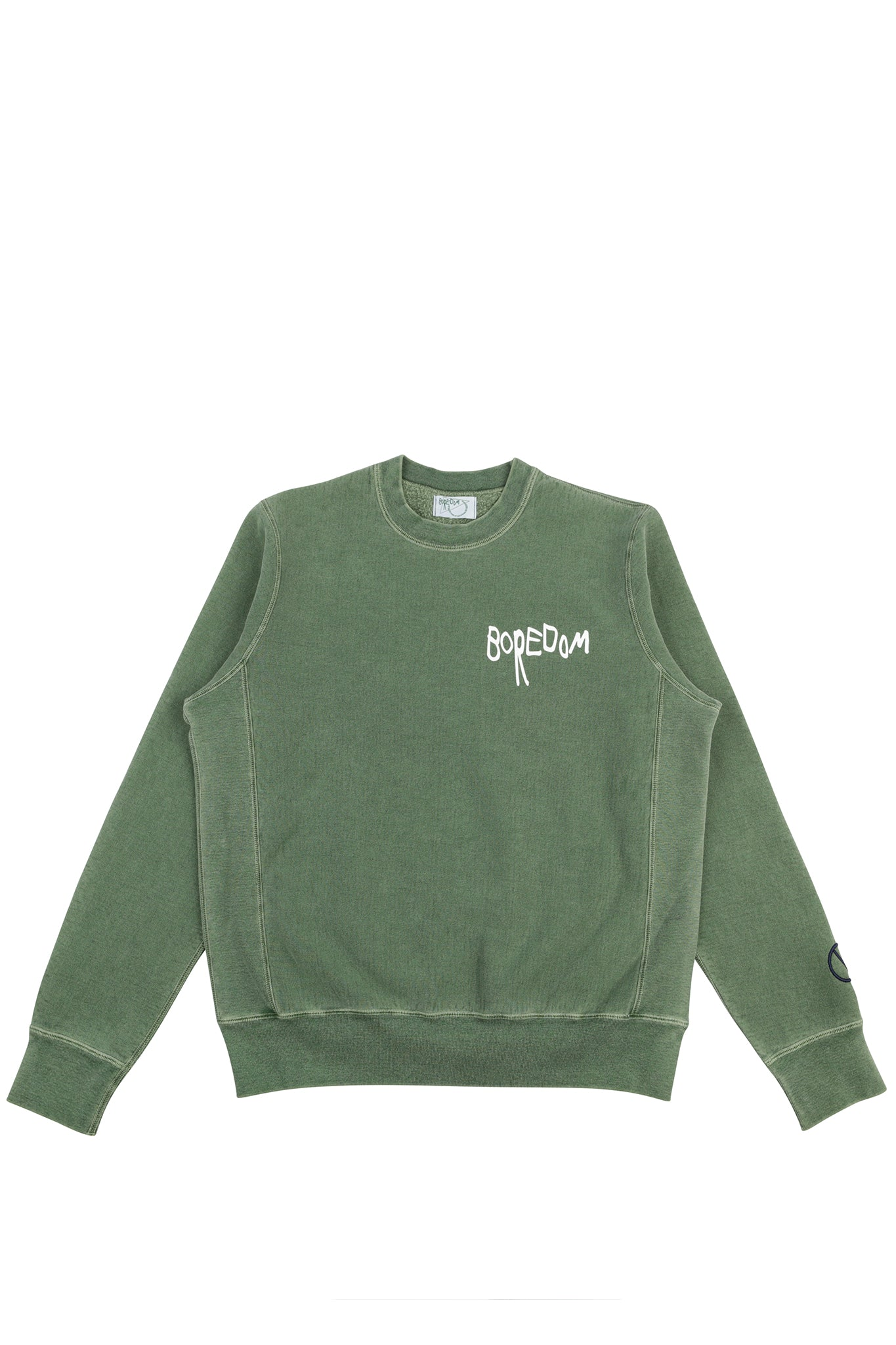 Pigment Dyed Logo Crewneck - Dark Green / White / Navy Blue
