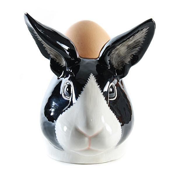 Black and White Dutch Rabbit Face Egg Cup