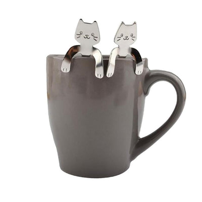 Cute Long Handle Silver Cat Spoon, 1 Pair