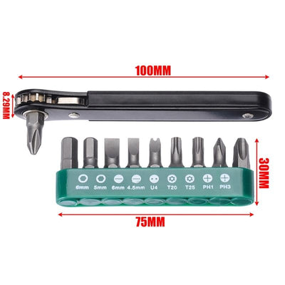 10 in 1 Mini Ratcheting Offset Screwdriver