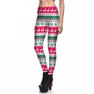 Red & Green Christmas Reindeer Legging