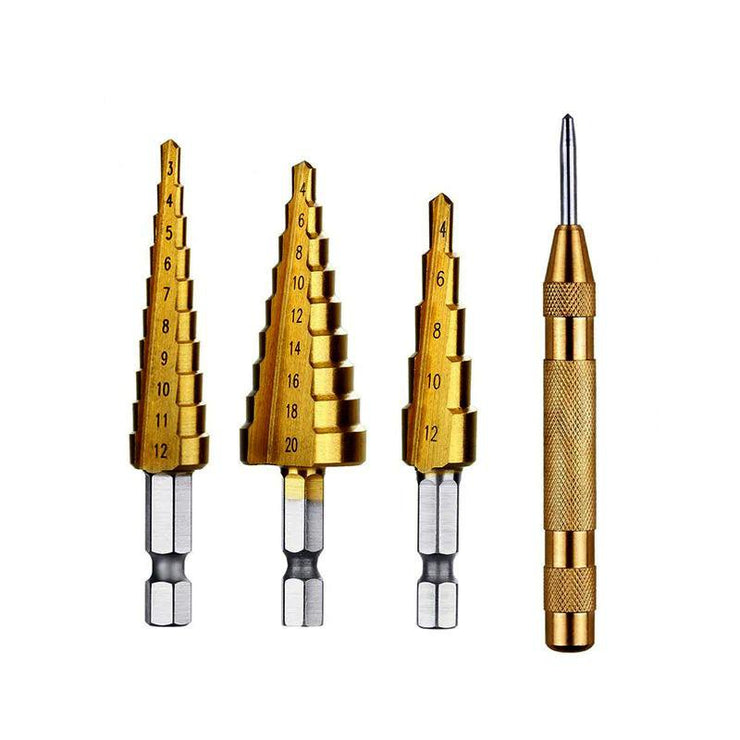 3 pcs HSS Steel Titanium Step Drill Bit