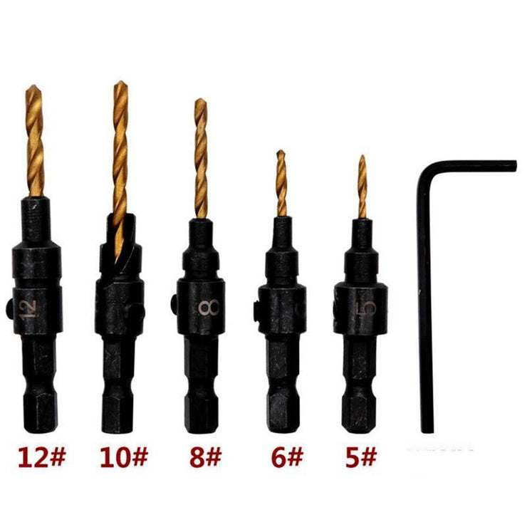 5pcs Hex Countersink Cone Drill Bit