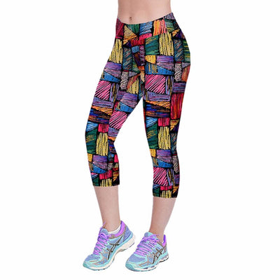Multi-Colored Skinny Fit Capri Yoga Pants