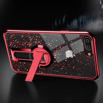 Cute Glitter Silicone iPhone Case with Adaptable Stand