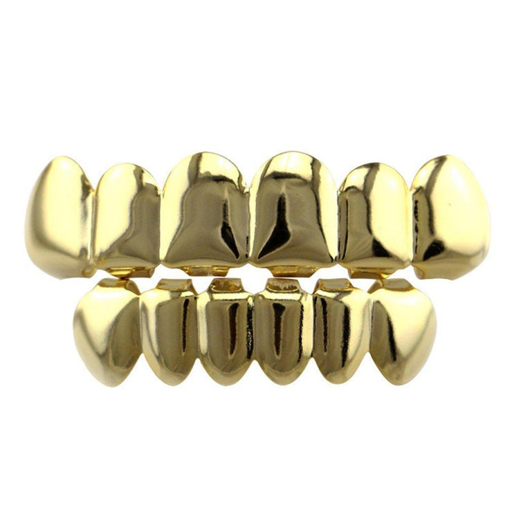 TLK Hip Hop Trending Silver & Gold Teeth Grillz, Top & Bottom