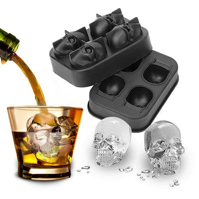 3D Skull Silicone Ice Cube Tray (Set of 3)