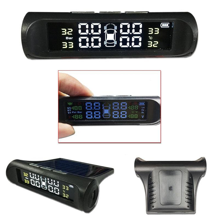Tire Pressure Sensor Solar Powered 4 Display With Temperature Reader