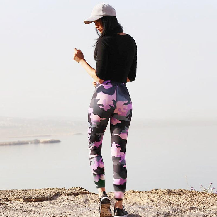 Women Quick Dry Women Camouflage Leggings, Slim Fit