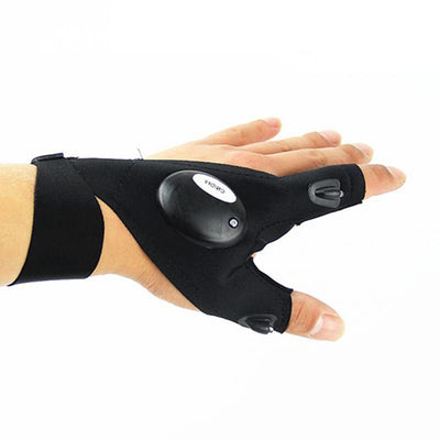 Fingerless LED Flashlight Left Hand Gloves