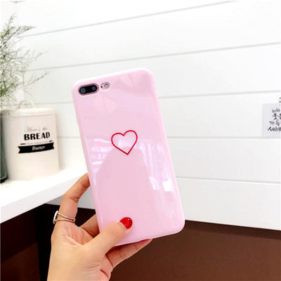 Lovely Heart Painted Phone Case For iphone 6 7 8 Case Fashion Couples Back Soft TPU Cover Cases For iphone 6 6s 7 8 Plus 8 Case