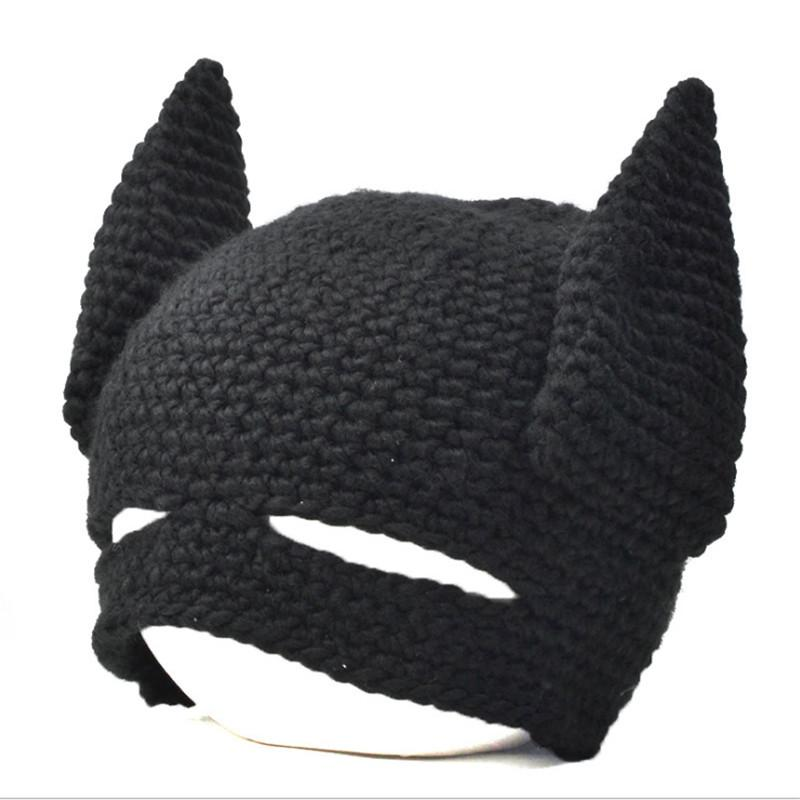 New Funny Handmade Batman Mask Hats Knitted Beanie hat Man Women Winter Caps  Black gorras hombre Creative Cap Party Gift 2017 6b938b41e154