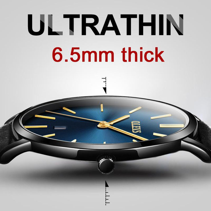OLEVS Ultra thin Fashion Male Wristwatch Leather Watchband Business Watches Waterproof Scratch-resistant Men Watch Clock G5869P