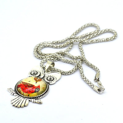 Lovely Owl pendant silver necklace,