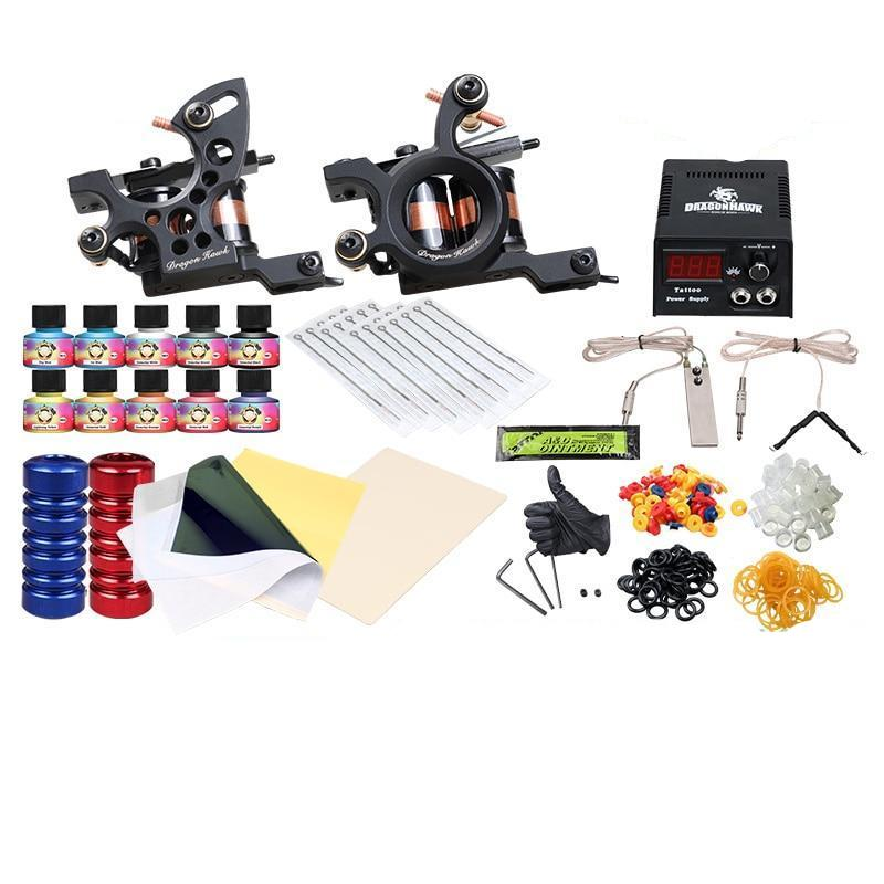 Tattoo Machine Rotary Gun Kit With Color Inks And Power Supply ...