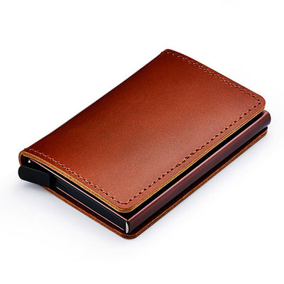Genuine Men's Secure Leather RFID Card Protector Wallet