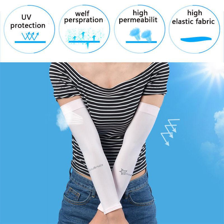 Cooling Compression Arm Sleeves UV Protection For Outdoor Activities (2 Pairs)