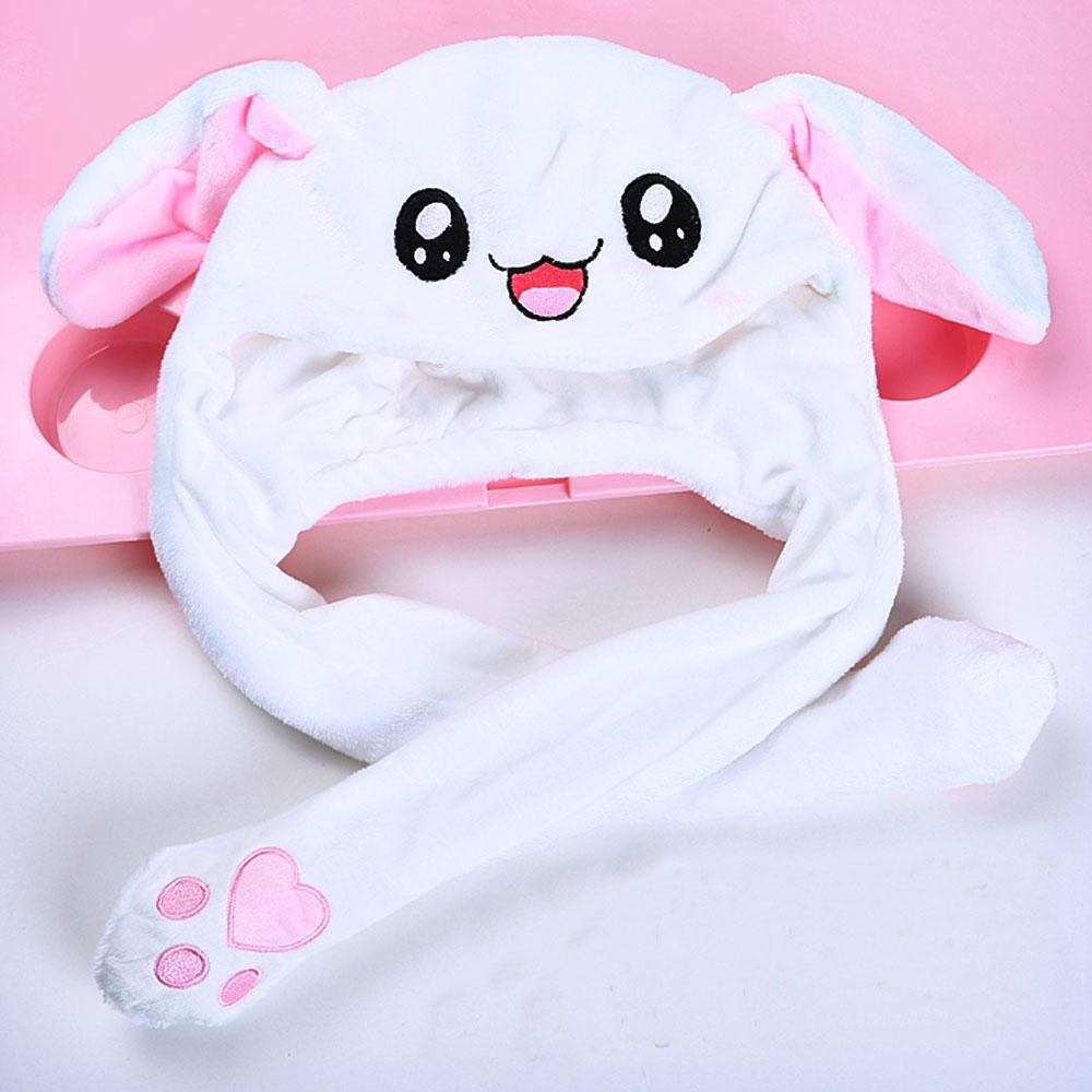 UK Winter Rabbit Ear Hat The Ear Will Move When You Hold Leg Funny Plush Hat Hot