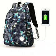 TLK ® COLLEGE WATERPROOF NYLON BACKPACK WITH USB CHARGING PORT