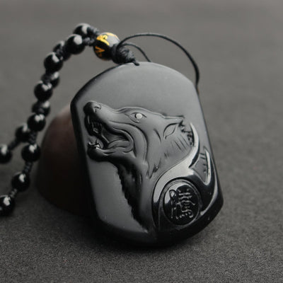 Black Men's Wolf Pendant Necklace Jewerly