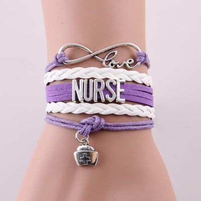 Infinity love NURSE Bracelet, leather wrap