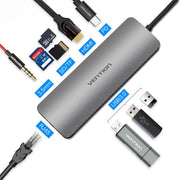 USB C Docking Station 9 In 1 Universal Adaptor For Computer And Cellphone