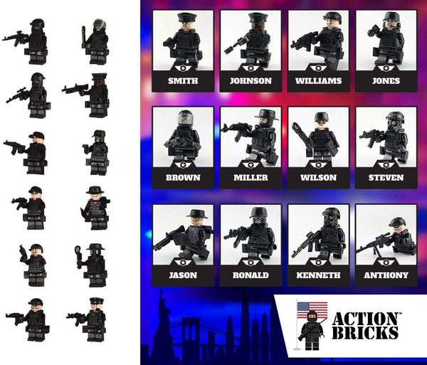 City Police Team with Bulletproof Vests, Weapons and Gas Masks 12 Minifigures total