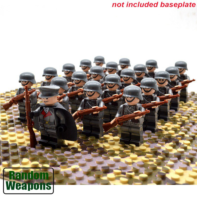 World War 2 Army Men Custom Building Block Compatible Figure Sets (21 pieces of each army set)