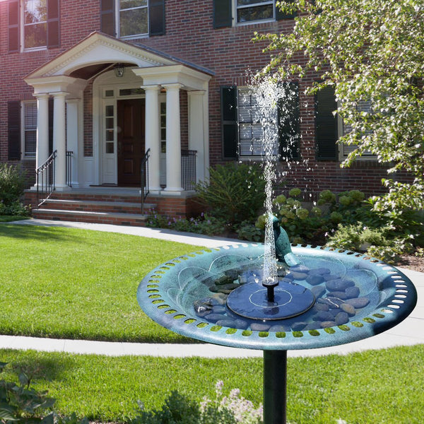 Solar Powered Fountain with 3 Different Spray Heads - ModernKitchenMaker.com
