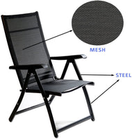 Patio Folding Chairs Black (Set of 2) Adjustable Reclining Back Padded Breathable Seats