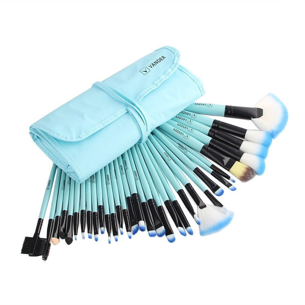 Makeup Brushes Set with Bag (Blue) - set of 32 brushes - ModernKitchenMaker.com
