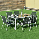 Patio Dining Set with Steel Tables and Chairs Glass Table Top for Outdoor (7 Piece)